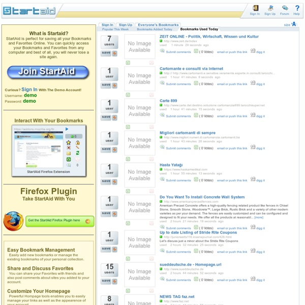 Online Bookmarks and Favorites - StartAid