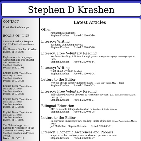 Books and Articles by Stephen D Krashen