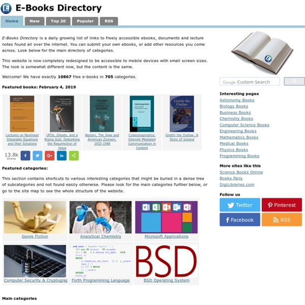 E-Books Directory - Categorized Books, Short Reviews, Free Downloads