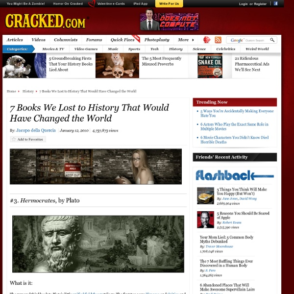 7 Books We Lost to History That Would Have Changed the World