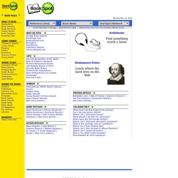 BookSpot.com: Book reviews, book awards, poetry, literary criticism, authors & more.