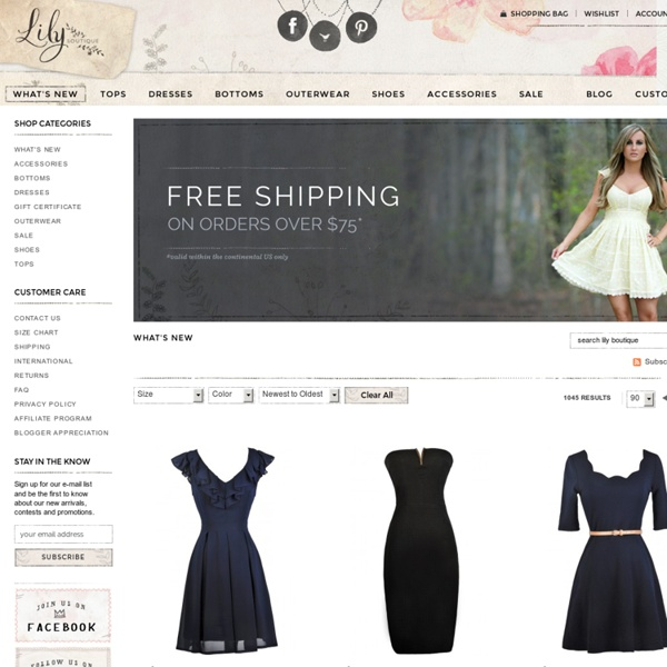 Lily Boutique Lily Boutique Juniors Online Boutique sells Boutique Clothing for juniors and Women including Juniors Cute Dresses, Cute Tops, Boutique Dresses, Women's Shoes, Prom Dresses, Bridesmaid Dresses, and Spring Dresses. Lily Boutique