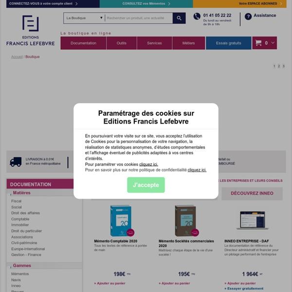 Boutique Editions Francis Lefebvre