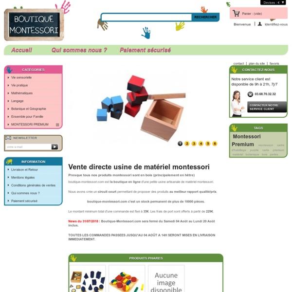 Boutique Montessori : Matériel montessori - Boutique Montessori