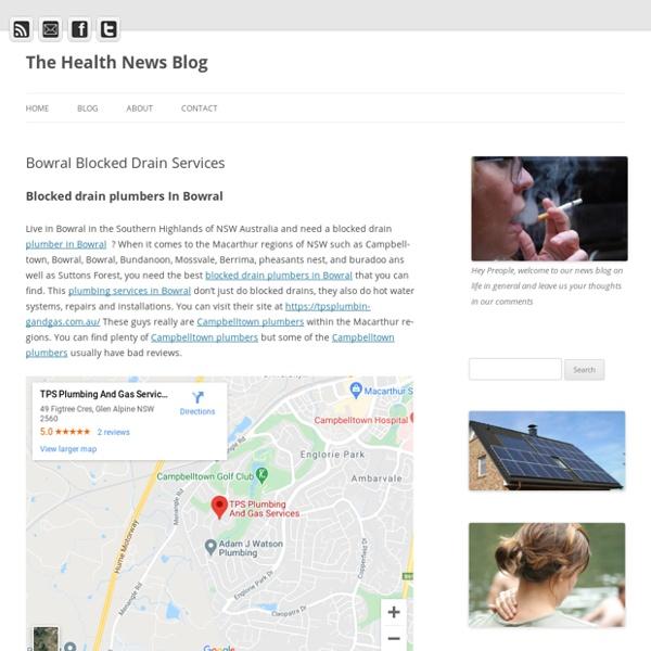 Bowral Blocked Drain Services - The Health News Blog
