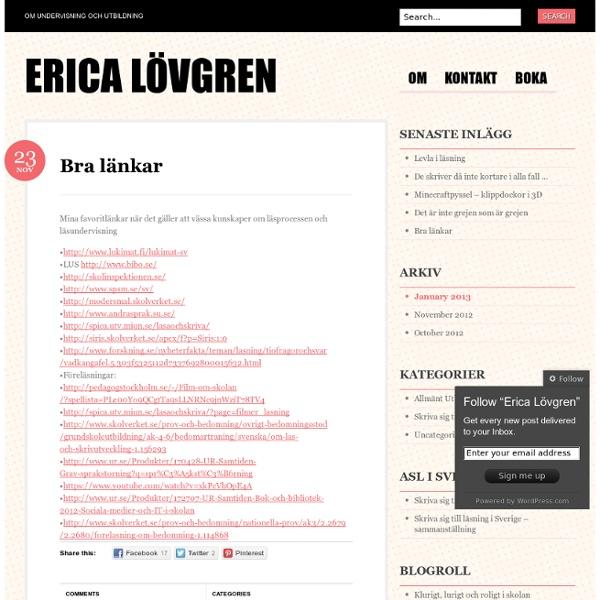 Bra länkar « Erica Lövgren