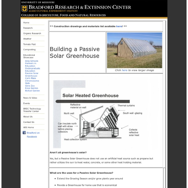Bradford Research and Extension Center: Building a Passive Solar Greenhouse