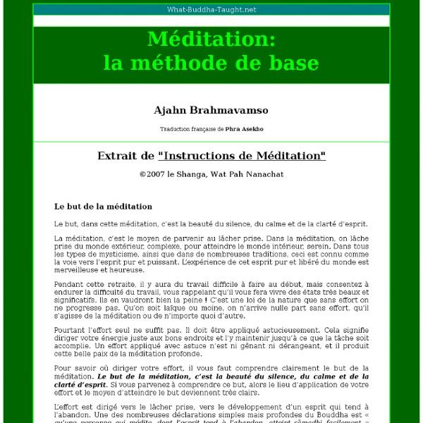 Méditation: la méthode de base