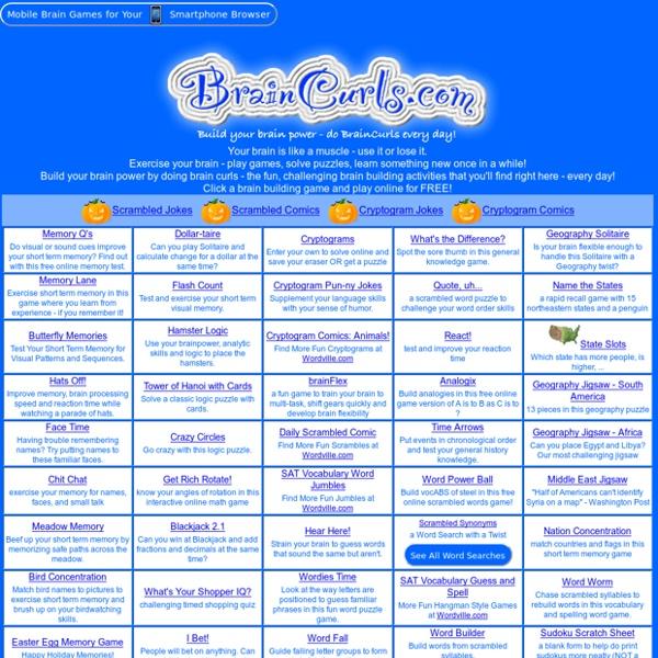 BrainCurls - play online brain-building games FREE