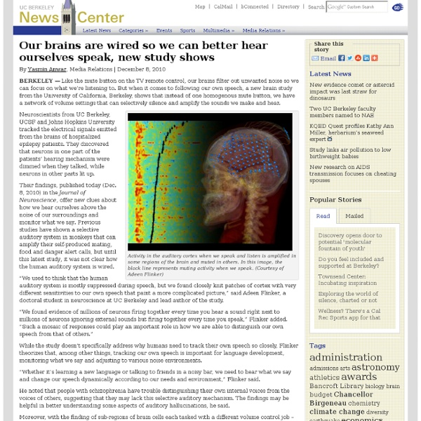 12.08.2010 - Our brains are wired so we can better hear ourselves speak, new study shows