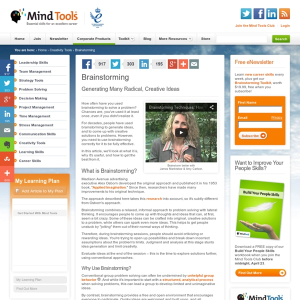 Brainstorming - Brainstorming Techniques from MindTools