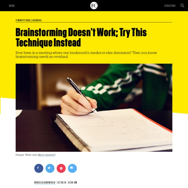 Brainstorming Doesn't Work; Try This Technique Instead