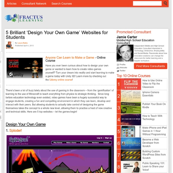 5 Brilliant 'Design Your Own Game' Websites for Students