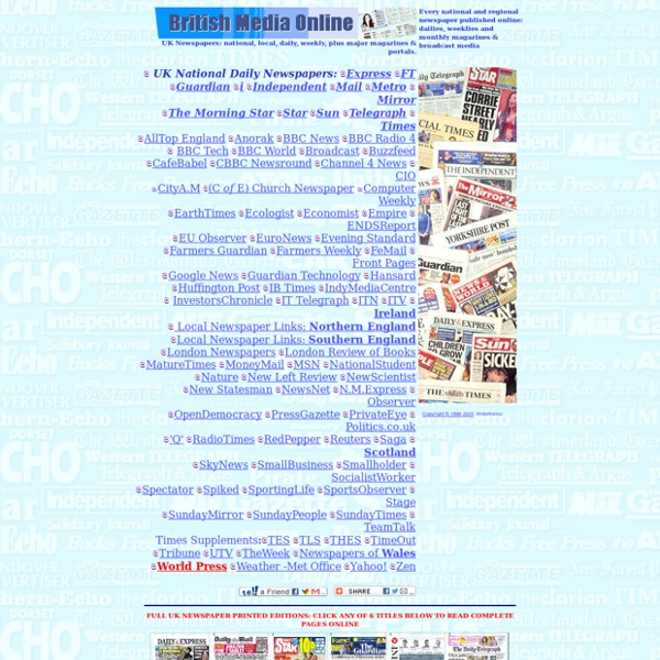 UK national and local newspapers online