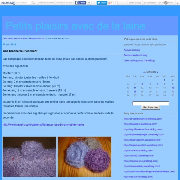 Une broche fleur en tricot - Petits plaisirs avec de la laine