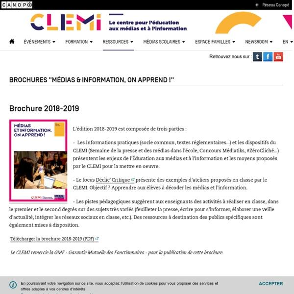 "Brochures ""Médias & information, on apprend !""- CLEMI"