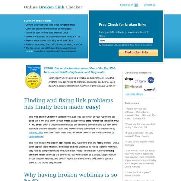 Free Broken Link Checker / Vérifier les liens morts