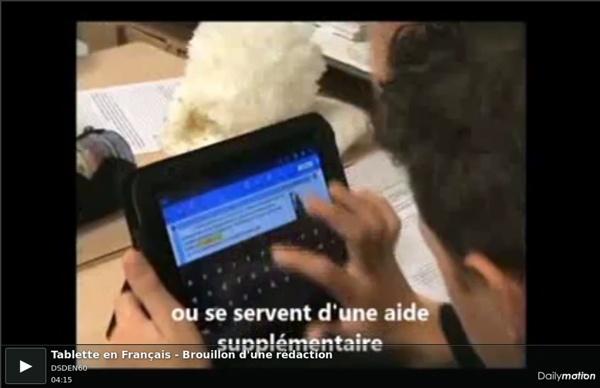 Tablette en Français - Brouillon d'une rédaction