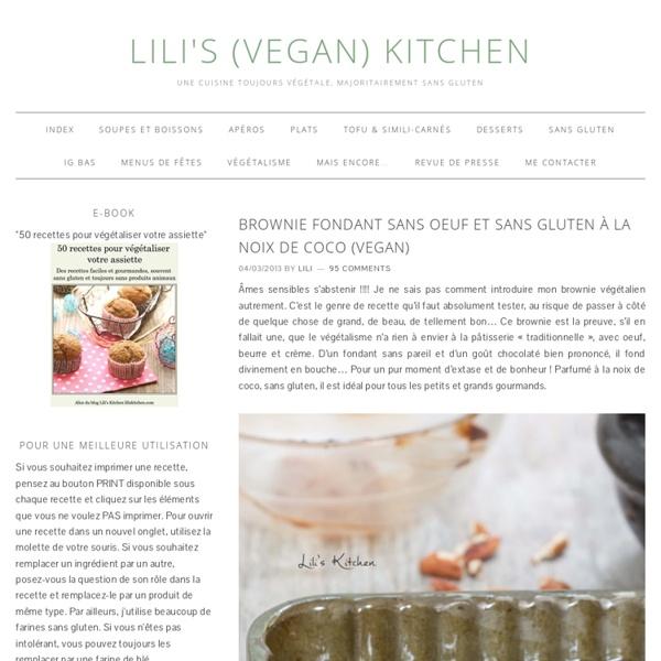 Brownie fondant sans oeuf et sans gluten à la noix de coco (vegan)