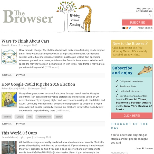 The Browser - Writing worth reading