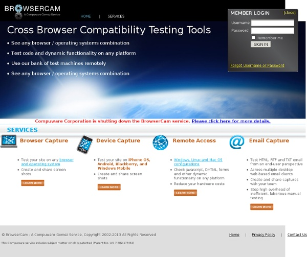 BrowserCam : Browser testing and cross browser compatibility testing products and tools, including free cross browser testing tool.