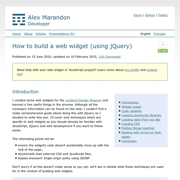 How to build a web widget (using jQuery) - Alex Marandon
