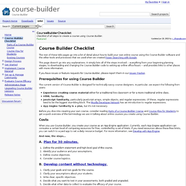 CourseBuilderChecklist - course-builder - Checklist of all steps to create a course using Course Builder. - Course Builder