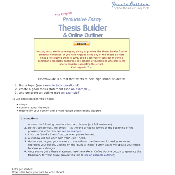 thesis builer Whether you're writing an argumentative, informative, or a comparative paper, we have some tips for you on how to write a strong thesis statement.