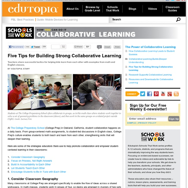 Five Tips for Building Strong Collaborative Learning