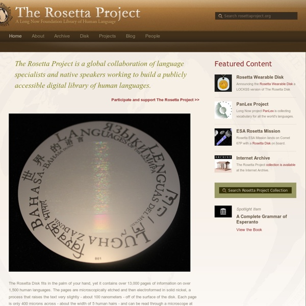 The Rosetta Project : archive all ducumented human languages project