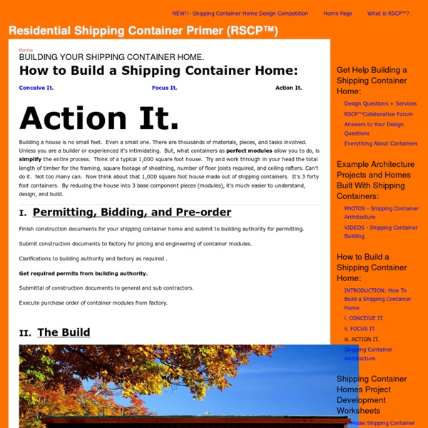 Residential Shipping Container Primer (RSCP™)