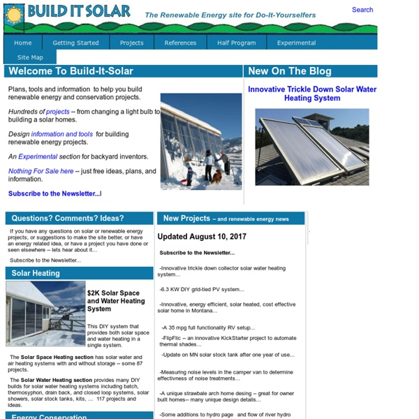 Solar energy projects for Do It Yourselfers to save money and reduce pollution
