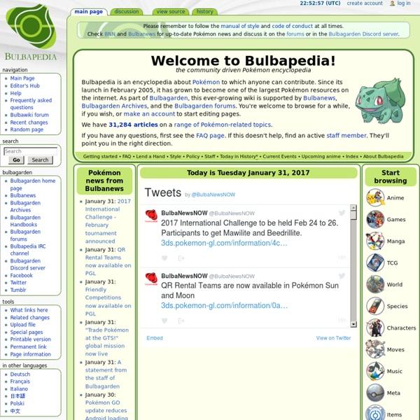 Bulbapedia, the community-driven Pokémon encyclopedia
