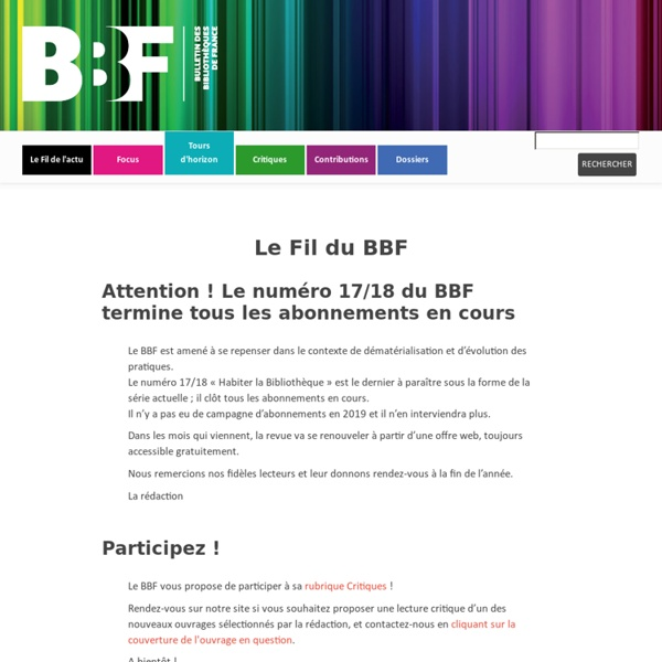 RUB. SITE + RSS : Le Fil du BBF