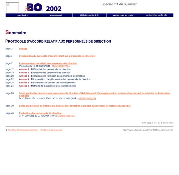 Bulletin officiel de l'éducation nationale spécial n°1 du 3 janvier 2002