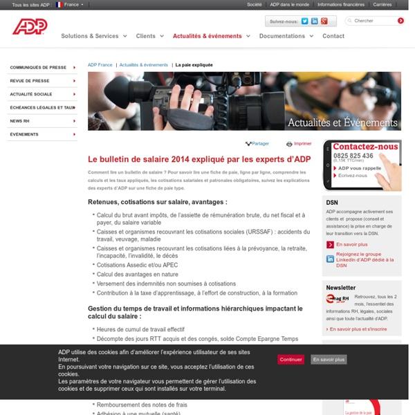 ADP pour PME : Logiciel paie, Ressources Humaines - Le bulletin de paie expliqué intéractif d'ADP