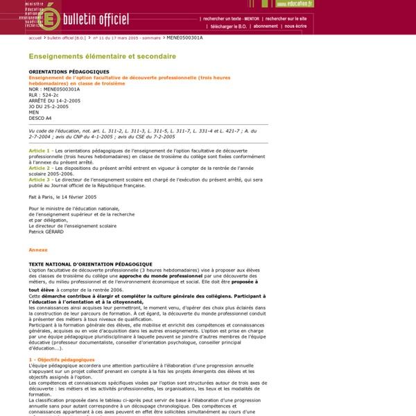 Bulletin officiel n° 11 du 17 mars 2005