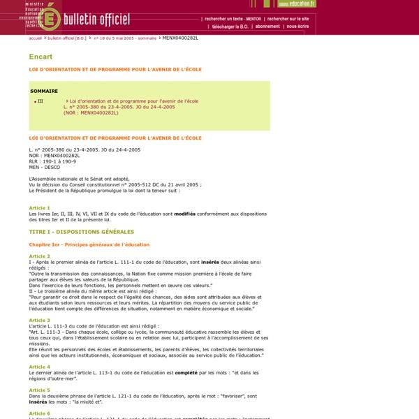 Bulletin officiel n°18 du 5 mai 2005
