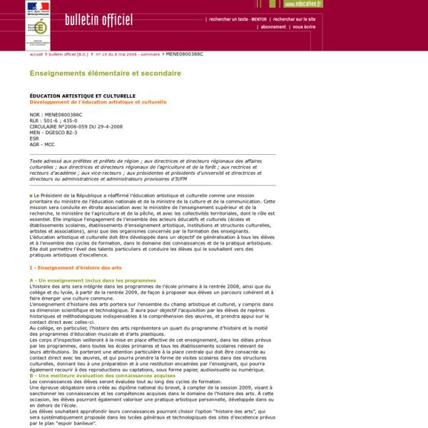 Bulletin officiel n°19 du 8 mai 2008 - Education artistique et culturelle