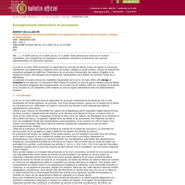 Bulletin officiel n° 21 du 27 mai 2004