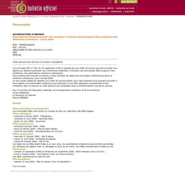 Bulletin officiel n° 46 du 15 décembre 2005