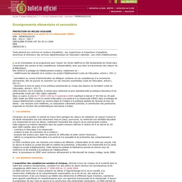 CESC Bulletin officiel n°45 du 7 décembre 2006