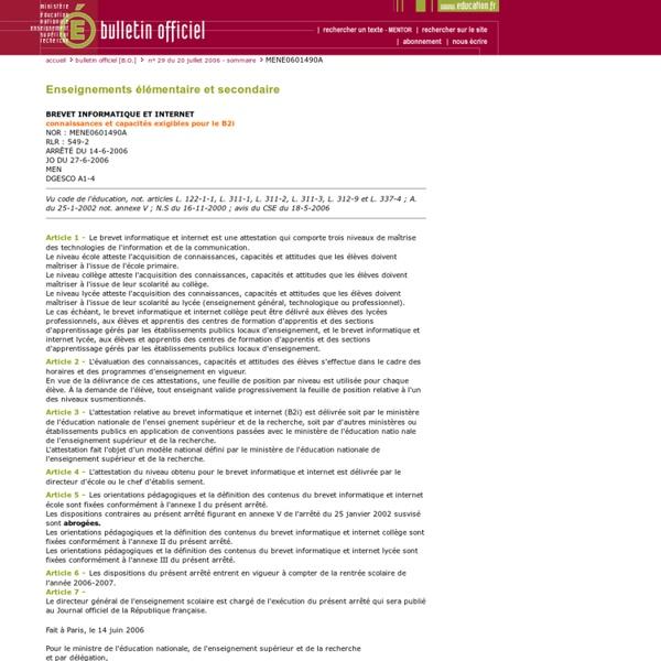 Bulletin officiel n° 29 du 20 juillet 2006
