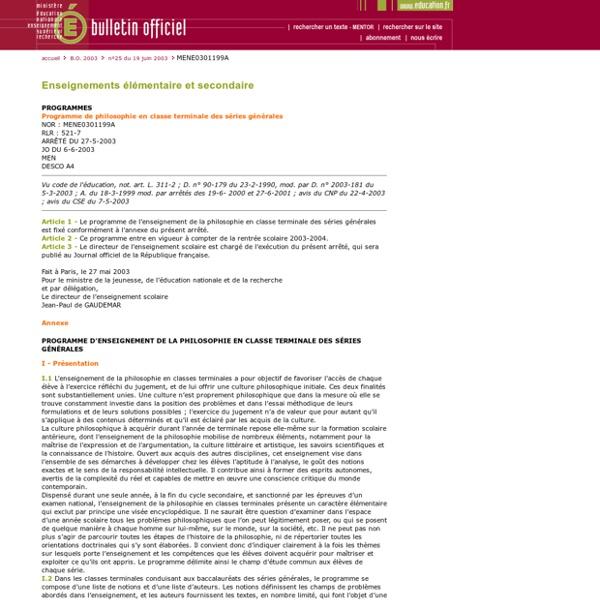 Bulletin officiel du n°25 du 19 juin 2003 - MENE0301199A