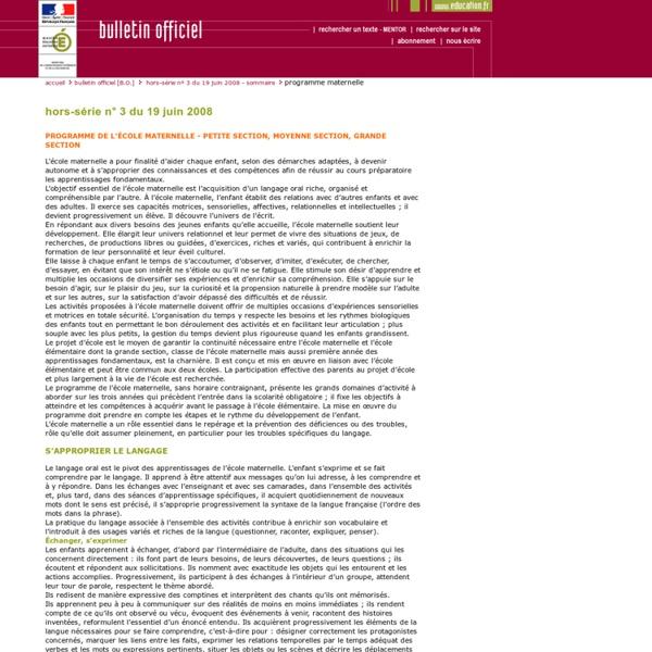 Bulletin officiel hors-série n° 3 du 19 juin 2008 - Programmes maternelle