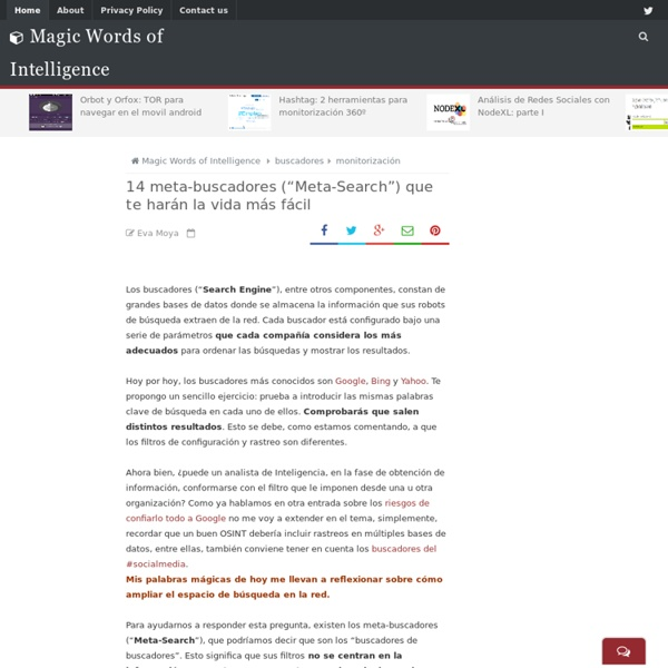 "13 meta-buscadores (""Meta-Search"") que te harán la vida más fácil ~ Magic Words of Intelligence"