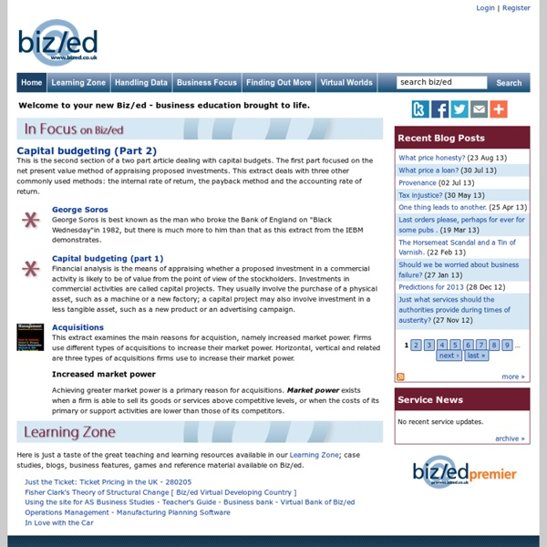 Business studies teaching and education resources: Biz/ed