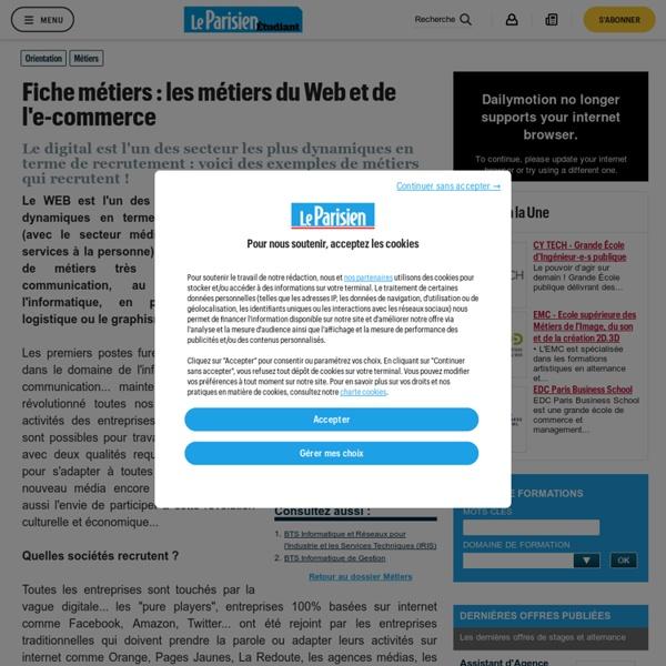 Fiche métiers : les métiers du WEB et de l'e-Business - Métiers