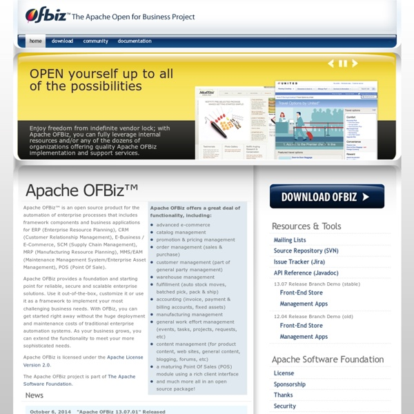 Apache OFBiz, The Apache Open For Business Project - Open Source E-Business / E-Commerce, ERP, CRM, POS, SCM, MRP, CMMS/EAM