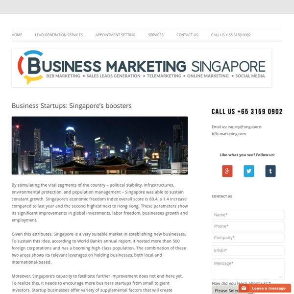 Business Startups: Singapore's boosters